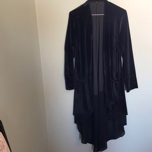 Black open front tunic